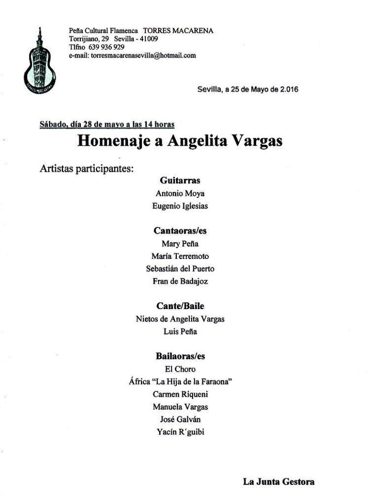 Homenaje a Angelita Vargas