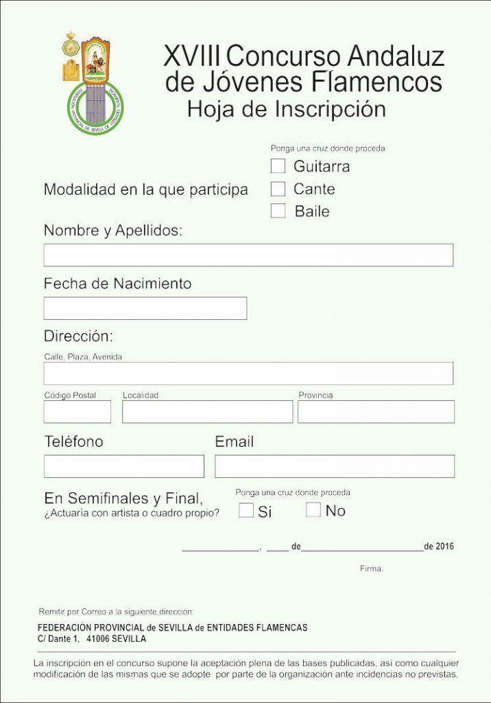 Inscripción para el XVIII Concurso Andaluz de Jóvenes Flamencos